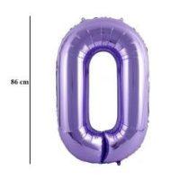 """Számos lufi 34"""" 86cm óriás lila fólia szám, számjegy 0 Héliummal töltve"""