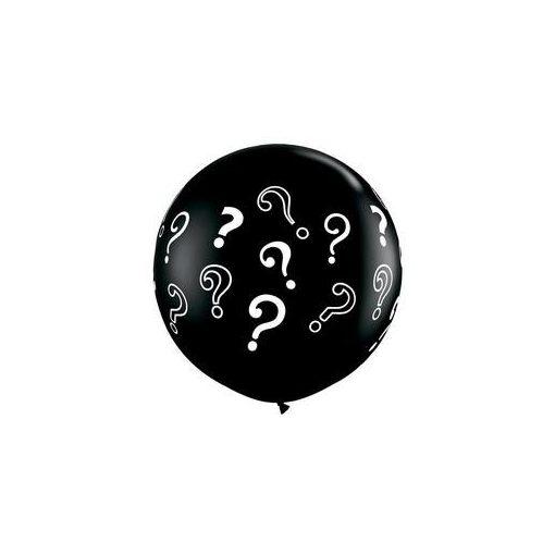 3 feet 91cm latex fekete léggömb, kérdőjelekkel 43400
