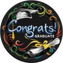 Papírtányér 17cm 8db Congrats Graduate, ballagásra, p43624