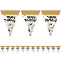 Happy Birthday zászlófüzér 5m, Elegáns, 24824
