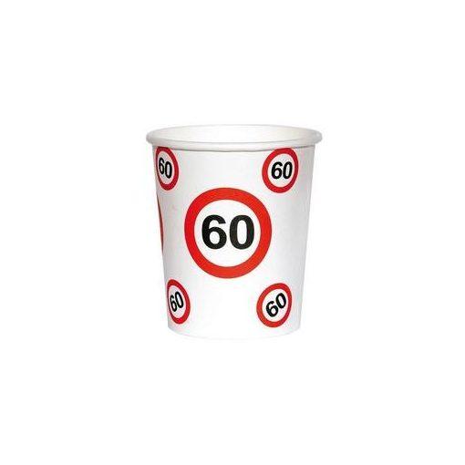 Papírpohár sebességkorlátozó 60-as számmal, 250ml 6db, 20796