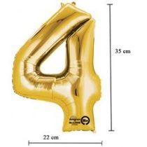 """Számos lufi 16"""" (40cm) fólia szám, számjegy 4 levegővel tölthető, arany, 3308301"""