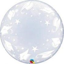 """Deco Bubble lufi 24"""" 61cm krisztálytiszta, átlátszó ballagási mintával, Héliummal töltve, 48565"""