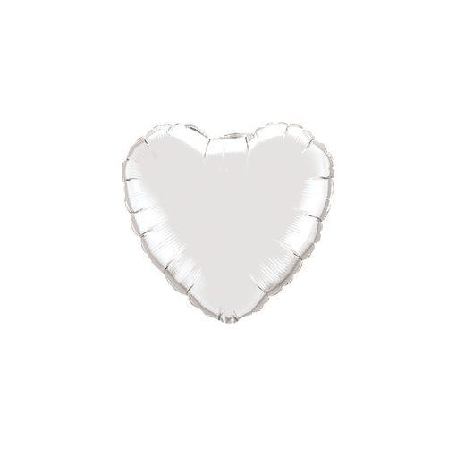 """Egyszínű szív fólia lufi 18"""" 45cm Silver, ezüst szív, 99600, héliummal töltve"""