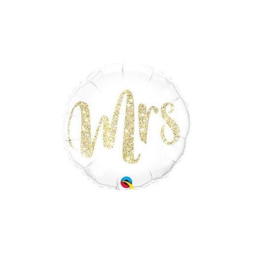 """Esküvői fólia lufi 18"""" 45cm Mrs, 57316, héliummal töltve"""
