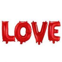 Fólia lufi - LOVE piros felirat, csak levegővel tölthető,  f29280