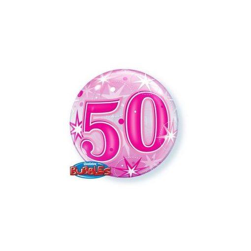 """Számos Bubbles lufi 22"""" 56cm 50-es számmal, Héliummal töltve, 43126"""
