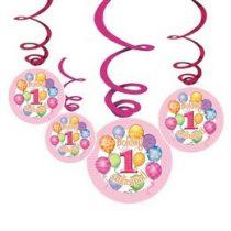 Boldog 1. szülinapot! Rózsaszín függő dekoráció, 24534