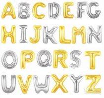 """Betű lufi 31"""" 80cm óriás ezüst fólia betű, E betű, Héliummal töltve"""