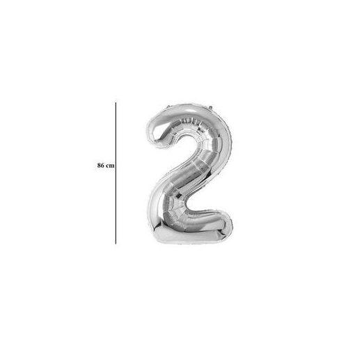 """Számos lufi 34"""" 86cm óriás ezüst fólia szám, számjegy 2-es Héliummal töltve, 30404"""