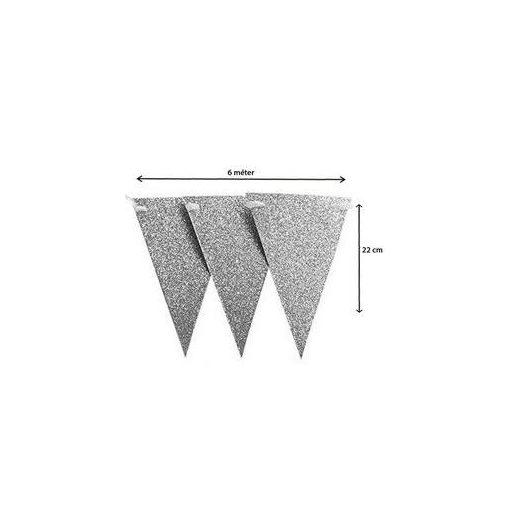 Zászlófüzér 6m csillogó, glitteres, ezüst, 60221