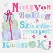 Képeslap, 14x14cm, NA01, Boldog születésnapot