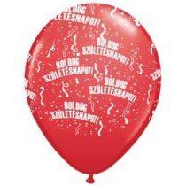"""Szülinapi latex lufi 11"""" 28cm 6db Boldog születésnapot! piros, q48008-2rp"""