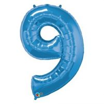 """Számos lufi 34"""" 86cm óriás kék fólia szám 9, Héliummal töltve, 30547"""