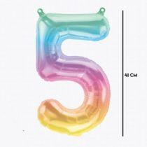 """Számos lufi 16"""" (40cm) fólia szám, számjegy 5 levegővel tölthető, Jelli Ombre, 86372"""