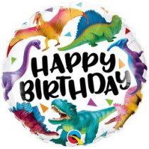 """Szülinapi fólia lufi 18"""" 45cm dinoszaurusz, Happy Birthday, 97382, héliummal töltve"""