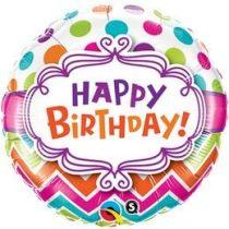 """Szülinapi fólia lufi 18"""" 45cm Happy Birthday, 28124, héliummal töltve"""