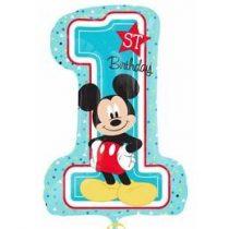 """Számos lufi 28"""" 71cm óriás Mickey fólia szám, számjegy 1-es, 1. szülinap, Héliummal töltve, 3434301"""