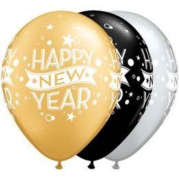 "QUALATEX 11"" (28cm-es) -  25db/csomag - Happy New Year szilveszteri lufi, 22741"