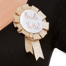 Kitűző lánybúcsúra glitteres, Bride To Be, 61014