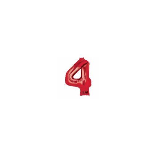 """Számos lufi 34"""" 86cm óriás piros fólia szám, számjegy 4-es Héliummal töltve"""