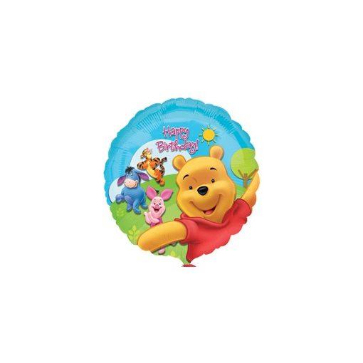 """Szülinapi fólia lufi 18"""" 45cm Happy Birthday, Micimackó, 1574901, héliummal töltve"""