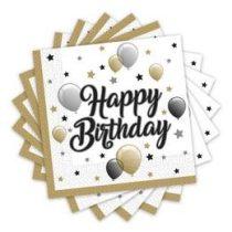 Szalvéta 33x33cm Happy Birthday 20db, Elegáns, 88863