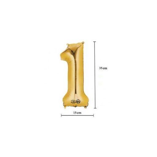 """Számos lufi 16"""" (40cm) fólia szám, számjegy 1 levegővel tölthető, arany 3307701"""