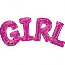 Fólia lufi - GIRL rózsaszín felirat, csak levegővel tölthető, 55x25cm, 07-3309701
