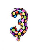 """Számos lufi 16"""" (40cm) fólia szám, számjegy 3-as, levegővel tölthető, fekete alapon-színes pöttyös"""