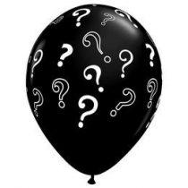 """16"""" 40cm latex fekete léggömb, kérdőjelekkel 85843"""