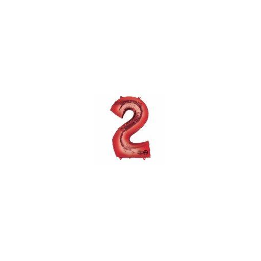 """Számos lufi 34"""" 86cm óriás piros fólia szám, számjegy 2-es Héliummal töltve"""