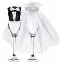 Esküvői pohárruha szett 2db, oUK