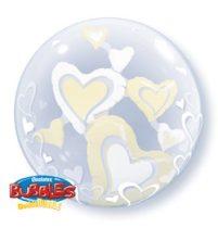 """Double Bubble, lufiban lufi 24"""" 61cm krisztálytiszta, átlátszó, szív belsővel, Héliummal töltve, 29489"""