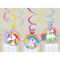 Spirális Függő dekoráció, Unikornis, Unicorn, egyszarvú - 6 db, 9902115