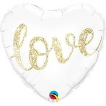 "Fólia lufi 18"" 45cm LOVE szív, 57322, héliummal töltve"