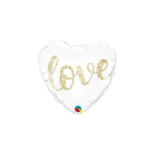 "Fólia lufi 18"" 45cm ""Love"" szív, 57322, héliummal töltve"