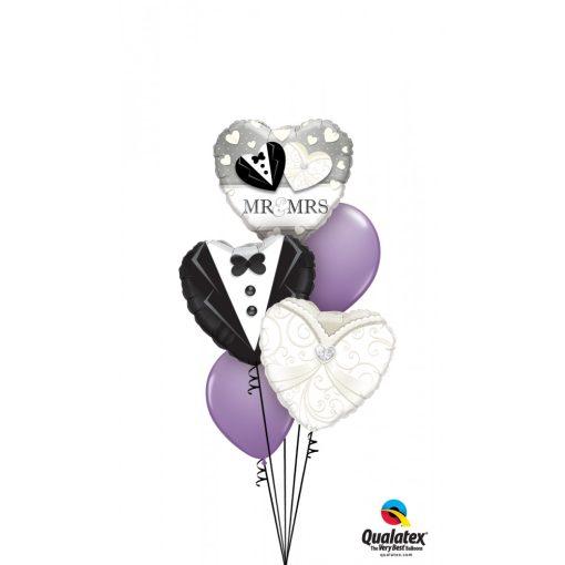 Héliumos luficsokor esküvőre, szív - INGYENES KISZÁLLÍTÁSSAL