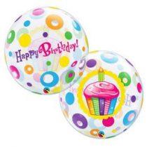"""Szülinapi Bubbles lufi 22"""" 56cm Héliummal töltve Happy Birthday, 23606"""