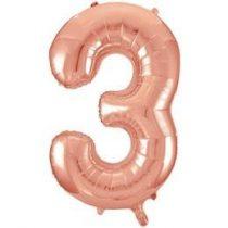 """Számos lufi 34"""" 86cm óriás Rose Gold fólia szám, számjegy 3-as Héliummal töltve, 55873"""