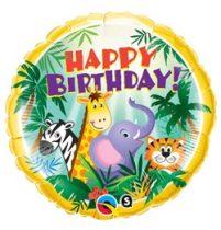 """Szülinapi fólia lufi 18"""" 45cm Happy Birthday, dzsungel, 31014, héliummal töltve"""