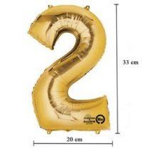 """Számos lufi 16"""" (40cm) fólia szám, számjegy 2 levegővel tölthető, arany, 3307901"""