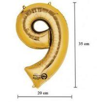 """Számos lufi 16"""" (40cm) fólia szám, számjegy 9 levegővel tölthető, arany, 3309301"""