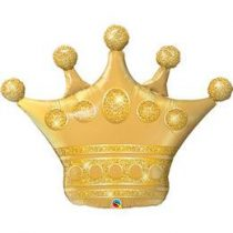 """Óriás fólia lufi 41"""" 103cm, arany korona, 49343, héliummal töltve"""