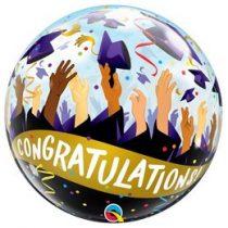 "Ballagási Bubbles lufi 22"" 56cm Héliummal töltve Congratulation, 98327"