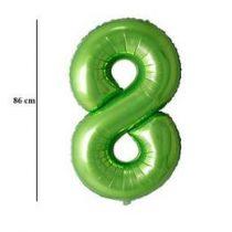 """Számos lufi 34"""" 86cm óriás zöld fólia szám, számjegy 8-as, Héliummal töltve"""