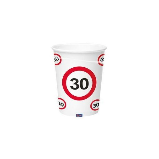 Papírpohár sebességkorlátozó 30-as számmal, 250ml 6db, 20765