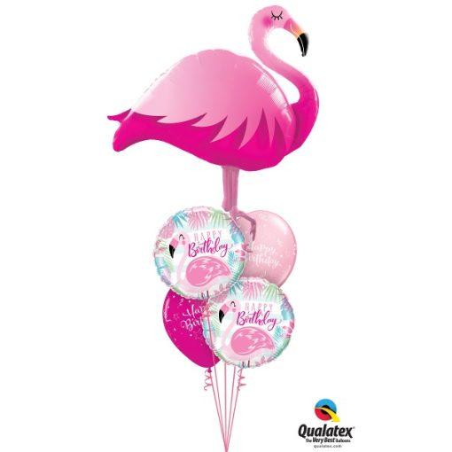 Héliumos luficsokor szülinapra, flamingo, flamingó, Happy Birthday - INGYENES KISZÁLLÍTÁSSAL