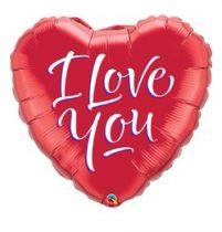 """Fólia lufi 18"""" 45cm """"I love you"""" szív, 29133, héliummal töltve"""