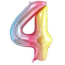 """Számos lufi 34"""" 86cm óriás Rainbow, színes, fólia szám, számjegy 4-es, Héliummal töltve"""